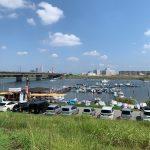 江戸川にてボートでハゼ釣り